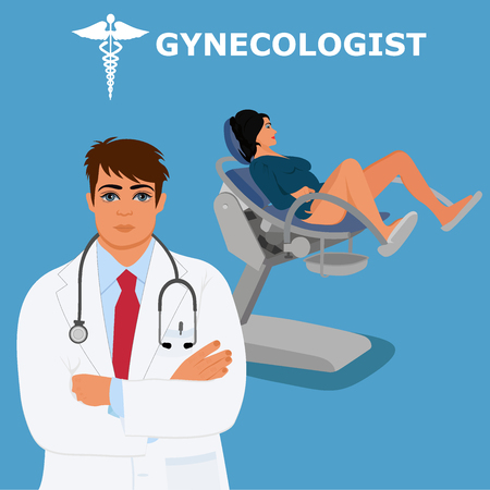 gynecologist, woman doctor, vector illustration