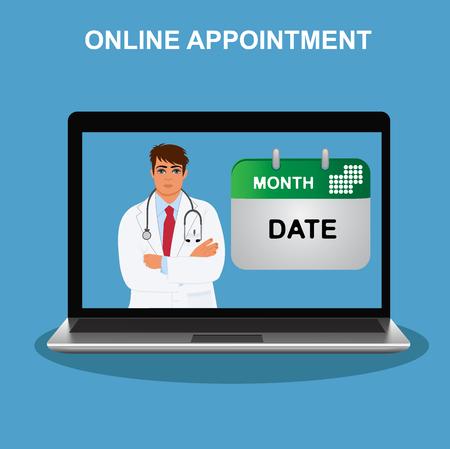 online appointment, doctor visit, vector illustration