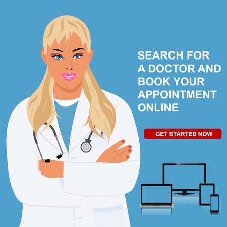 event planner: online doctor appointment, physician visit, vector illustration
