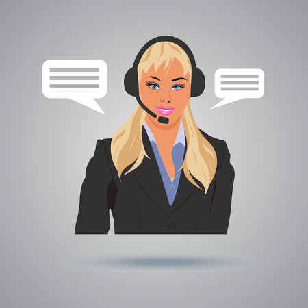 technical support concept, call center, woman with headphones, vector illustration