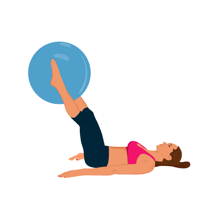 stability: fitness woman exercising with stability ball, vector illustration