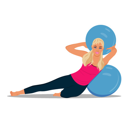 fitness woman and stability ball, Pilates, vector illustration Illustration