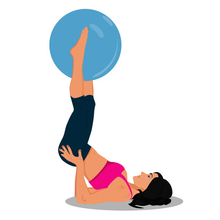 fitness woman and stability ball, Pilates, vector illustration Vettoriali