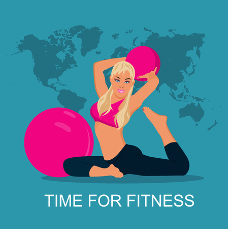 stability: fitness woman and stability ball, Pilates, vector illustration Illustration