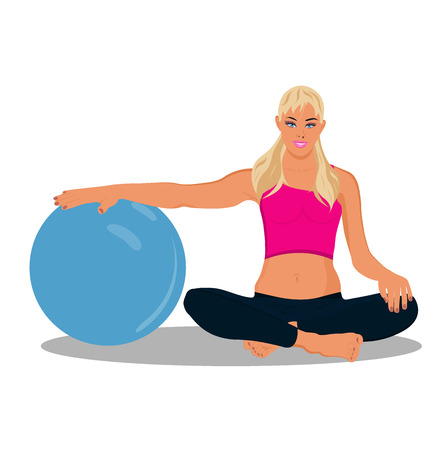 stability: fitness woman, stability ball, vector illustration