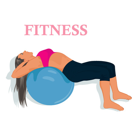fitness, woman exercising with stability ball, vector illustration Illustration