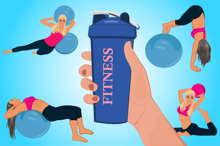 hand holding shake bottle, fitness concept, vector illustration