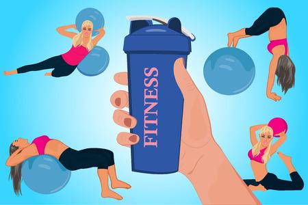 hand holding shake bottle, fitness concept, vector illustration