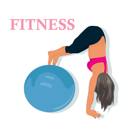 stability: fitness, woman exercising with stability ball, vector illustration Illustration
