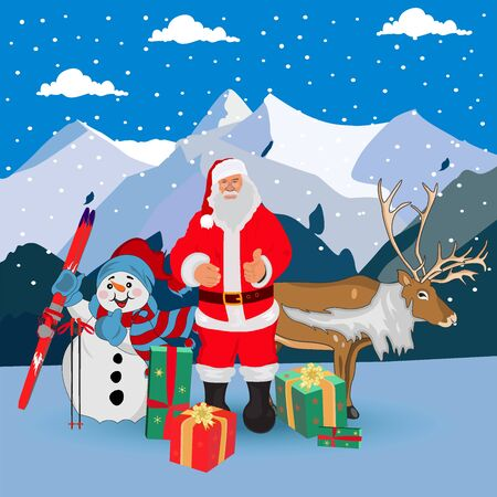 Santa Claus, snowman, deer and mountains background, vector illustration