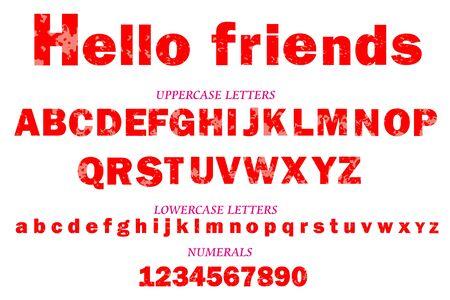 Lettertype, alfabet, letters en cijfers, vectorillustratie
