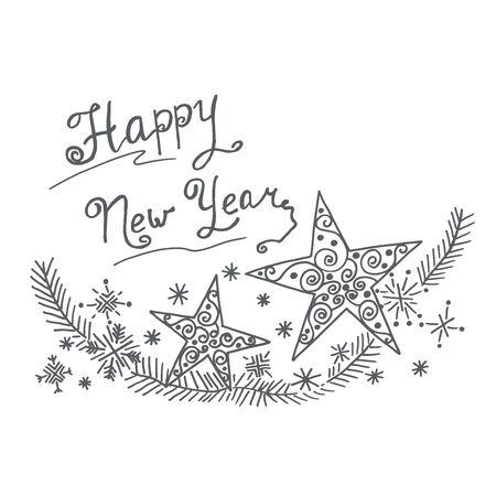 Happy new year ornament, vector Ilustracja