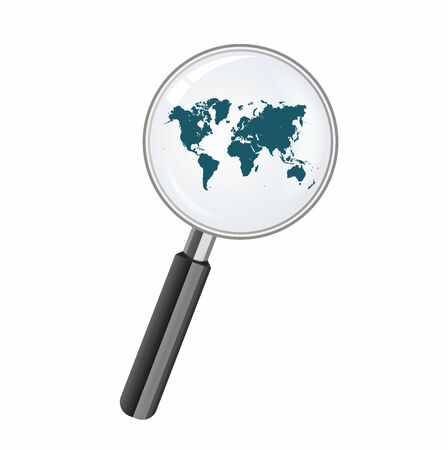 magnify: world map and magnify glass, vector illustration