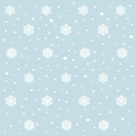 snow fall: snow fall and flakes on blue background. pattern