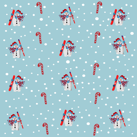 snow fall: snowman with skies and snowboard. snow fall pattern