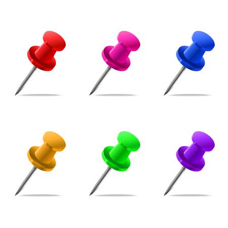 Set of pins isolated on white background Ilustrace