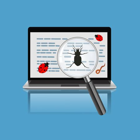 laptop with magnify glass and bugs. Virus concept