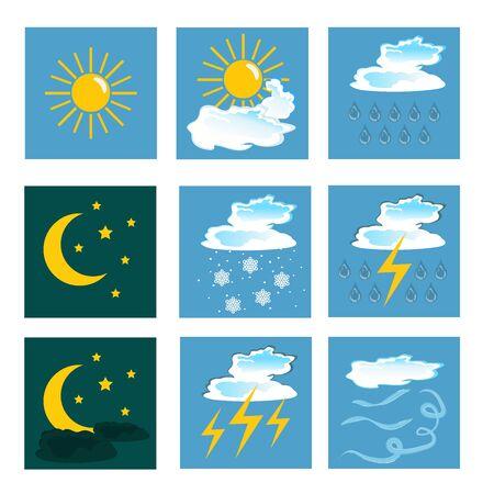 weather icons. set. vector Ilustracja