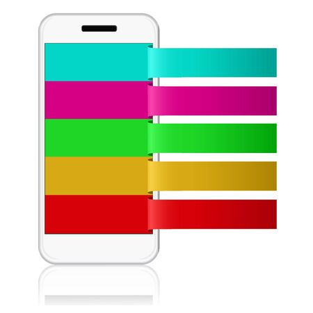 white cellphone with reminder notes. vector