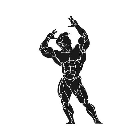 Bodybuilder posing icon Illustration