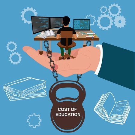 Students debt, education illustration
