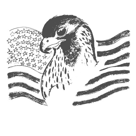 eagle and American flag, vector illustration