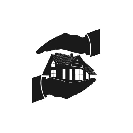 real estate house: home insurance, icon, vector
