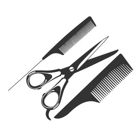 櫛、はさみ、理髪ツール、アイコン、ベクトル イラスト  イラスト・ベクター素材