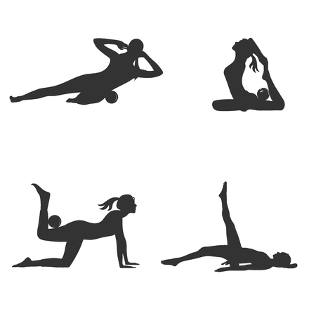pilates ball: Icons of fitness woman with small yoga ball.