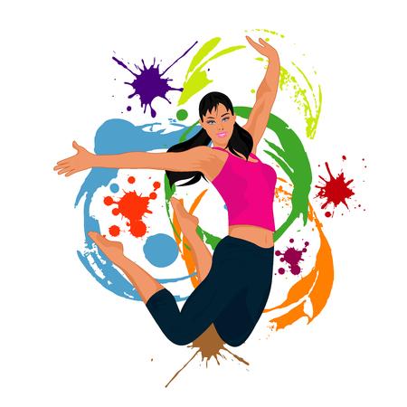Jumping girl, freedom, vector illustration.