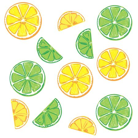 lemon and lime, sketch, vector illustration Stok Fotoğraf - 75546639