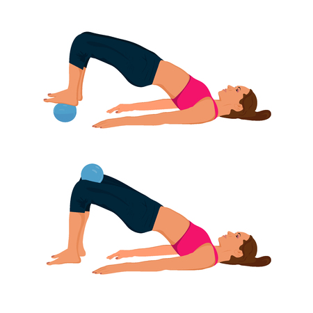 Fitness woman exercising with trigger point yoga massage ball, vector illustration