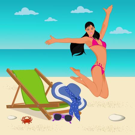 jumping girl on the beach, vector illustration