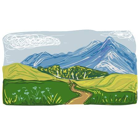 Landscape, mountains in sketch style, vector illustration Illustration
