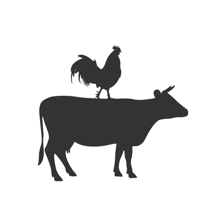 cow and rooster icon Illustration