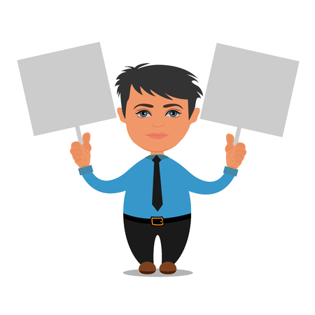 business person holding empty boards, cartoon, vector illustration Ilustrace