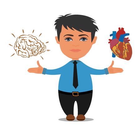 Brain or heart choices, business concept, vector illustration