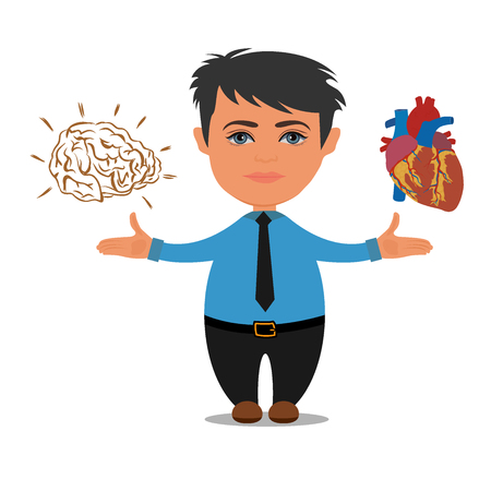 Brain or heart choices, business concept, vector illustration