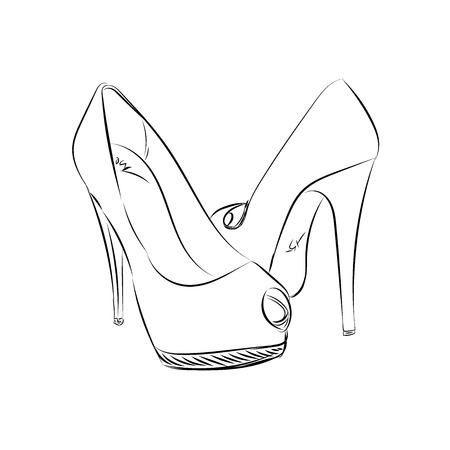 High heels, sketch style, vector illustration Çizim
