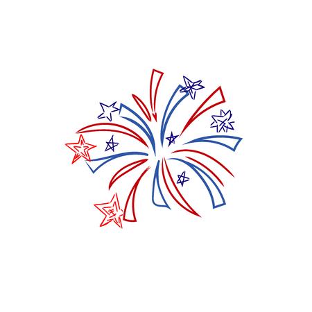 Fireworks, 4th of July, sketch, vector illustration