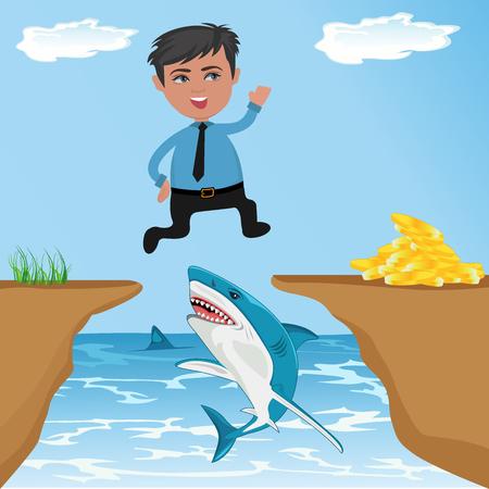Cartoon character, Businessman jumping through cliff gap to get money, vector illustration