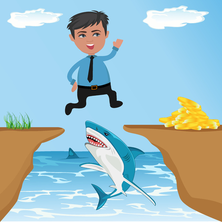 Cartoon character, Businessman jumping through cliff gap to get money, vector illustration