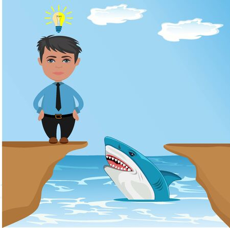businessman thinking how to jump over gap with shark, vector illustration