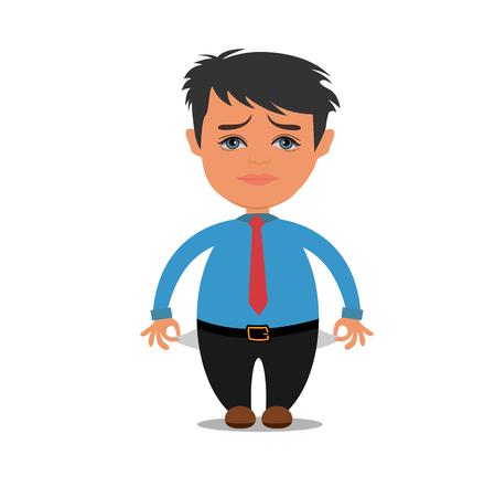 businessman with empty pockets, vector illustration Illustration