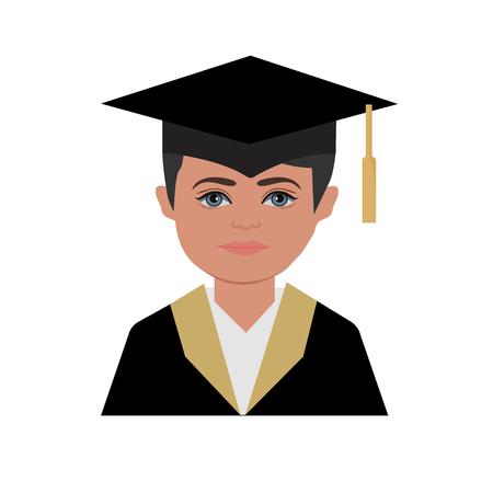 graduation, man, vector illustration Illustration