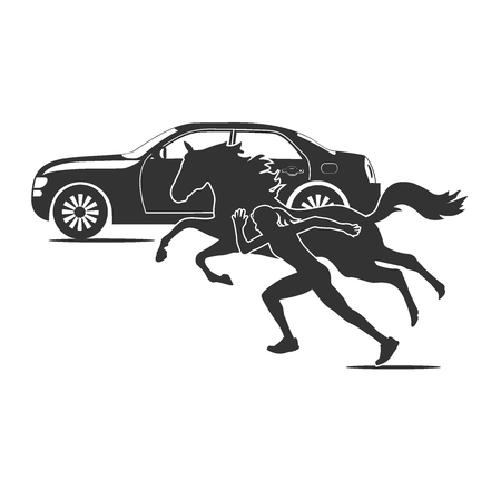car horse and running girl, speed theme, vector illustration  イラスト・ベクター素材