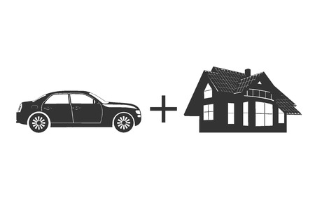 Car and house protection concept, insurance, vector illustration