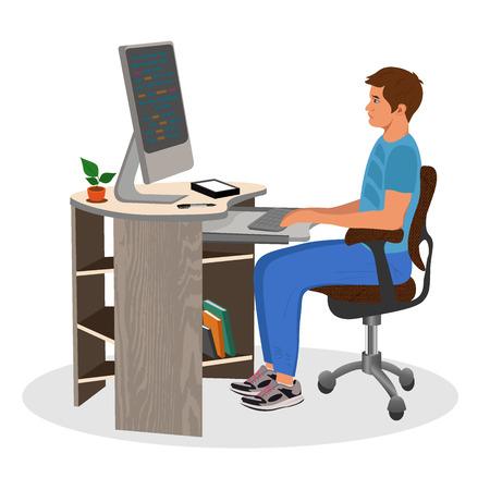 MAn working on computer, programming, vector illustration Illusztráció