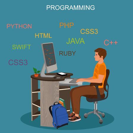 Programming and coding concept, vector illustration