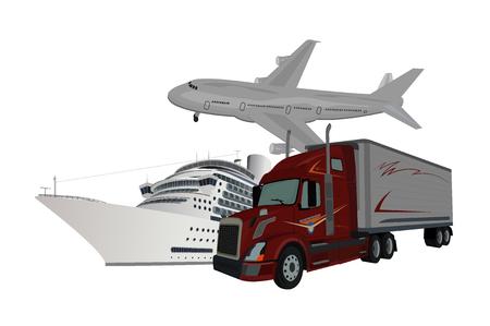 truck, ship, airplane, delivery concept, vector illustration Ilustração